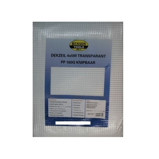 Hoge kwaliteit afdekzeil / dekzeil transparant 4 x 5 meter