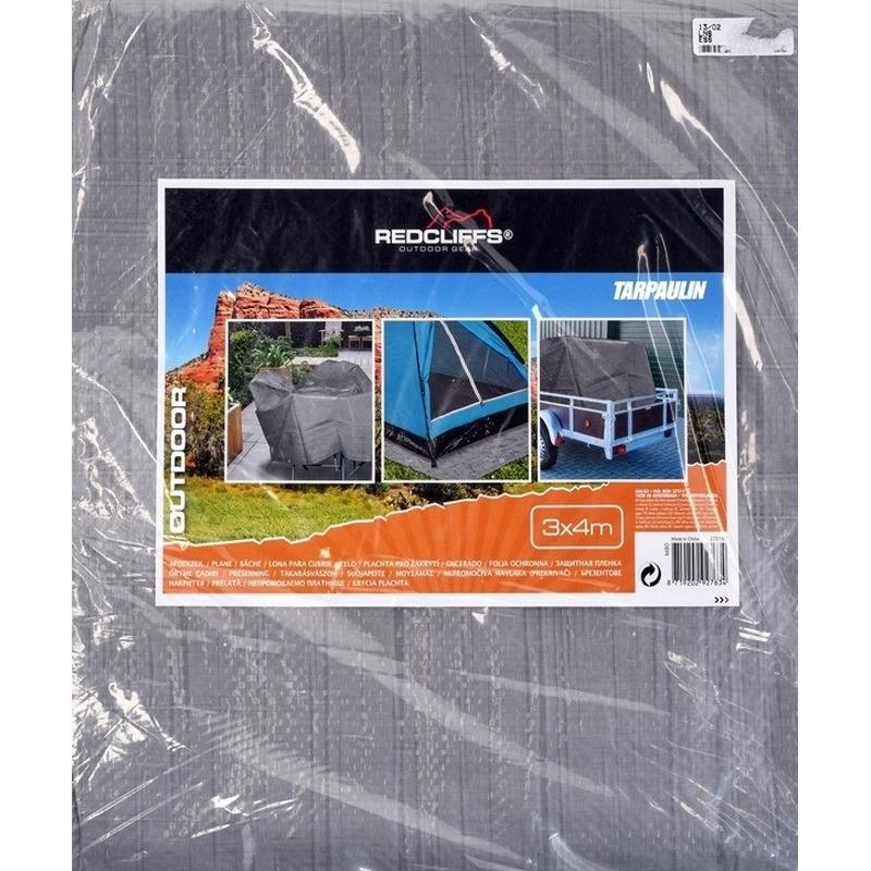 Hoge kwaliteit afdekzeil dekzeil grijs 3 x 4 meter