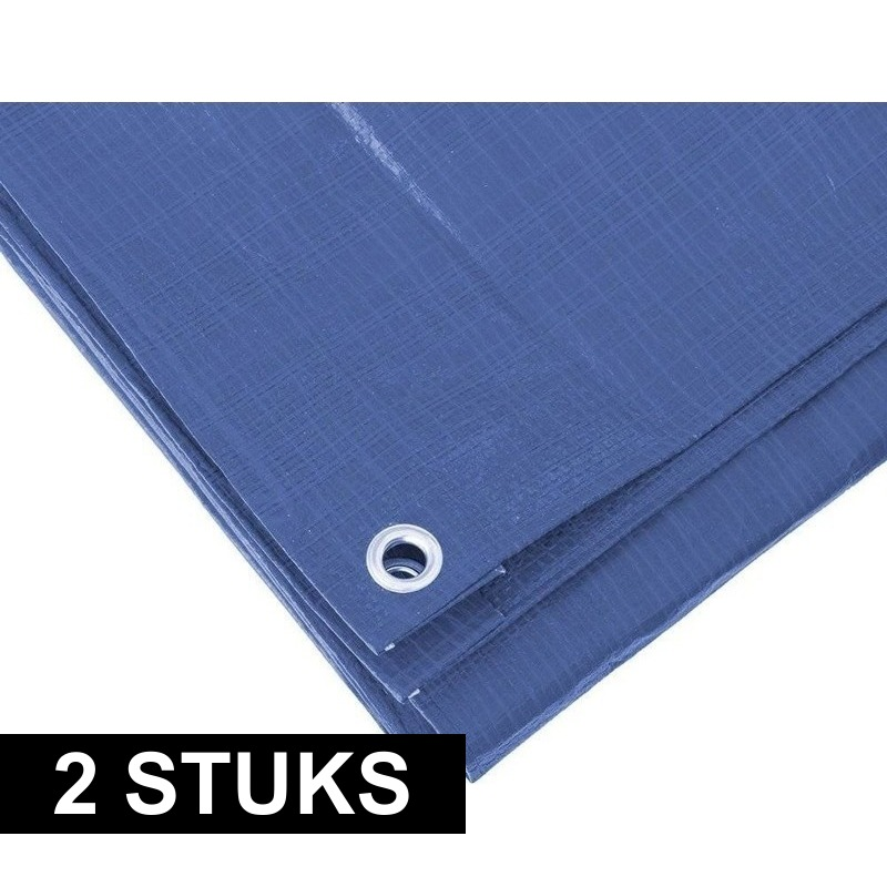 2x hoge kwaliteit afdekzeilen dekzeilen blauw 5 x 6 meter