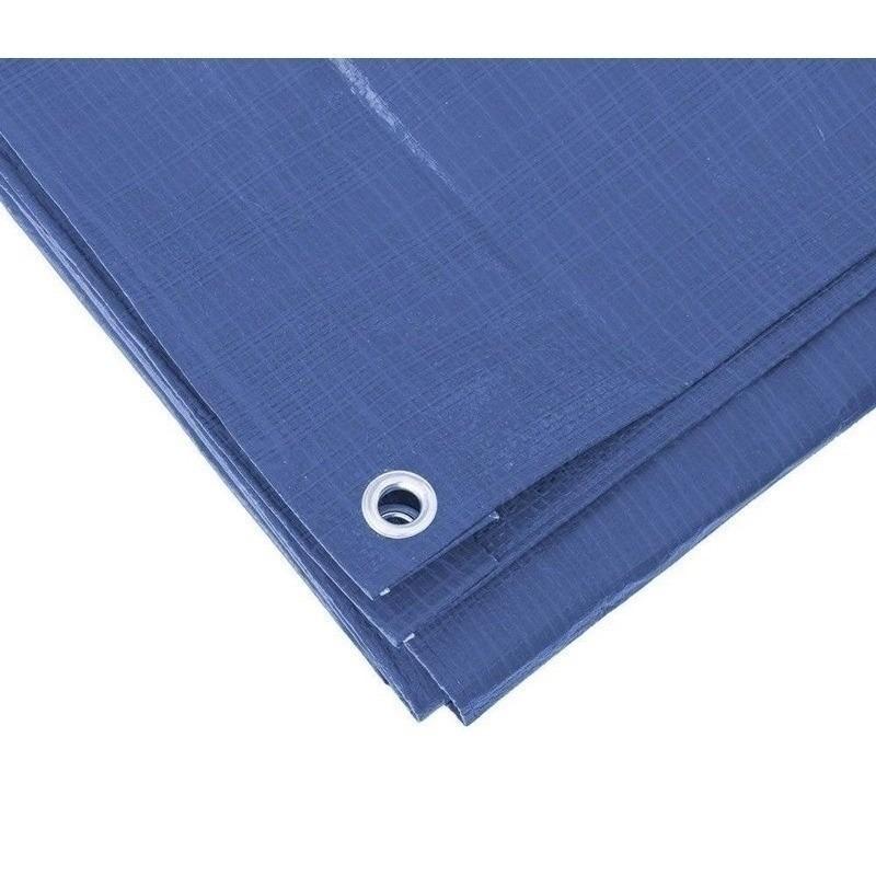 2x blauwe afdekzeilen dekkleed 8 x 12 m