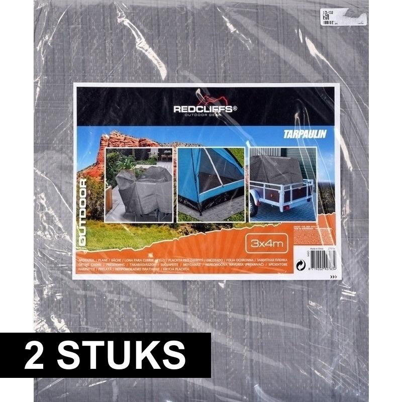 2x hoge kwaliteit afdekzeilen / dekzeilen grijs 3 x 4 meter