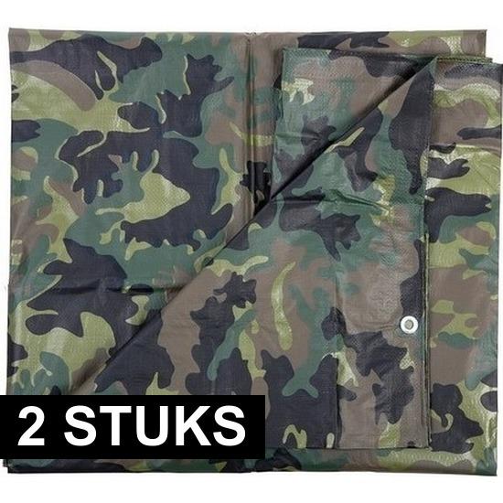 2x groene camouflage afdekzeilen dekkleden 5 x 6 m