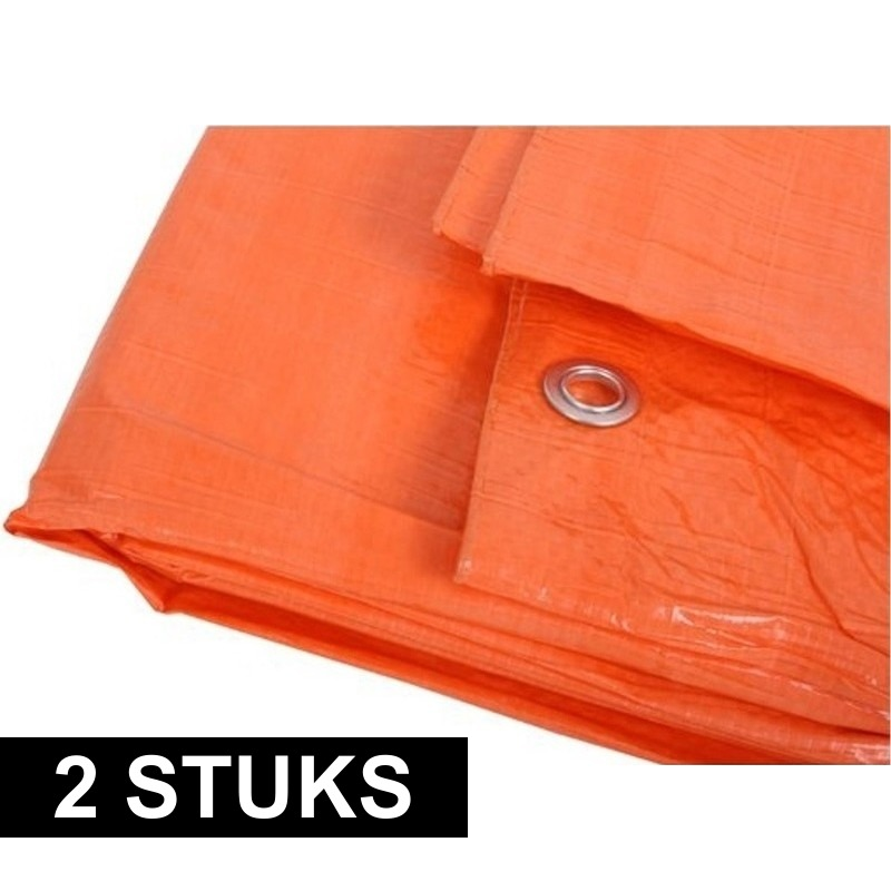 2x oranje afdekzeilen dekkleden 6 x 10 m