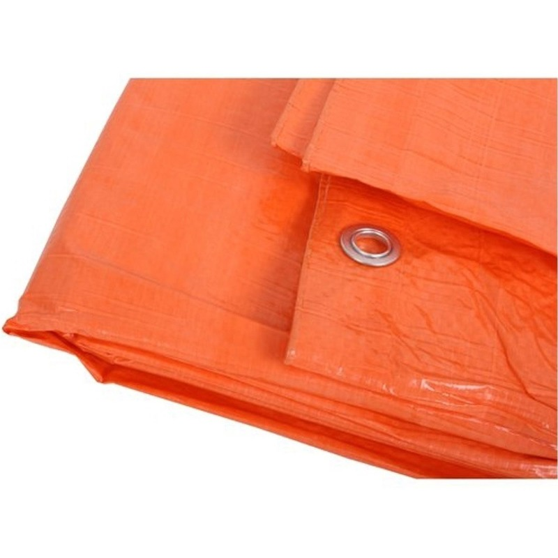 2x oranje afdekzeilen dekkleden 8 x 10 m