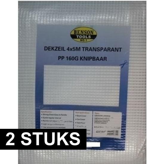 2x hoge kwaliteit afdekzeilen dekzeilen transparant 4 x 5 meter