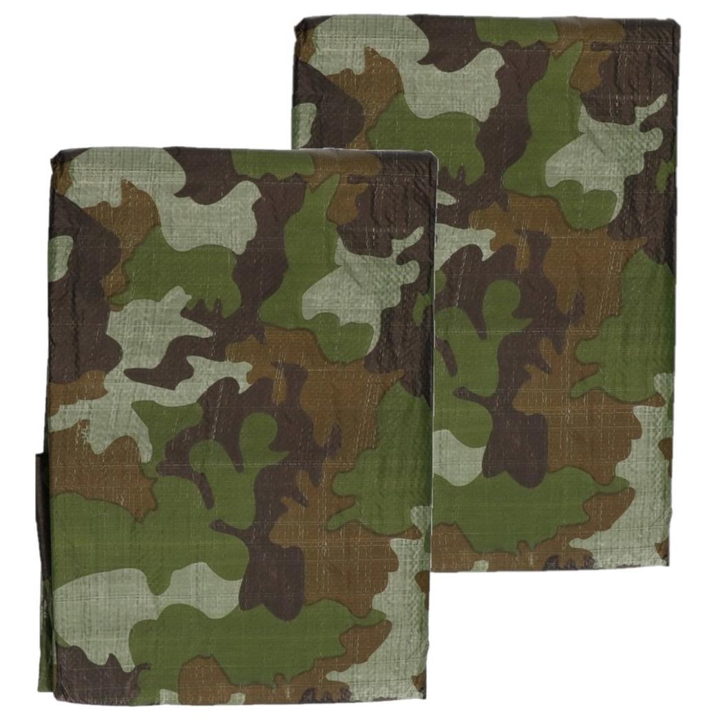 3x stuks groen camouflage afdekzeilen dekzeilen 3 x 4 meter