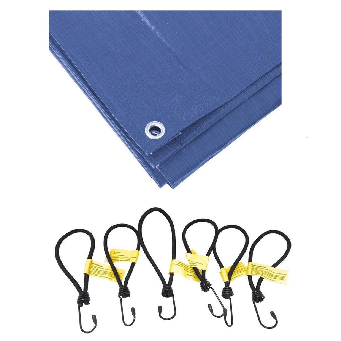 Blauw afdekzeil dekzeil 2 x 3 meter met 12x spanners haakjes