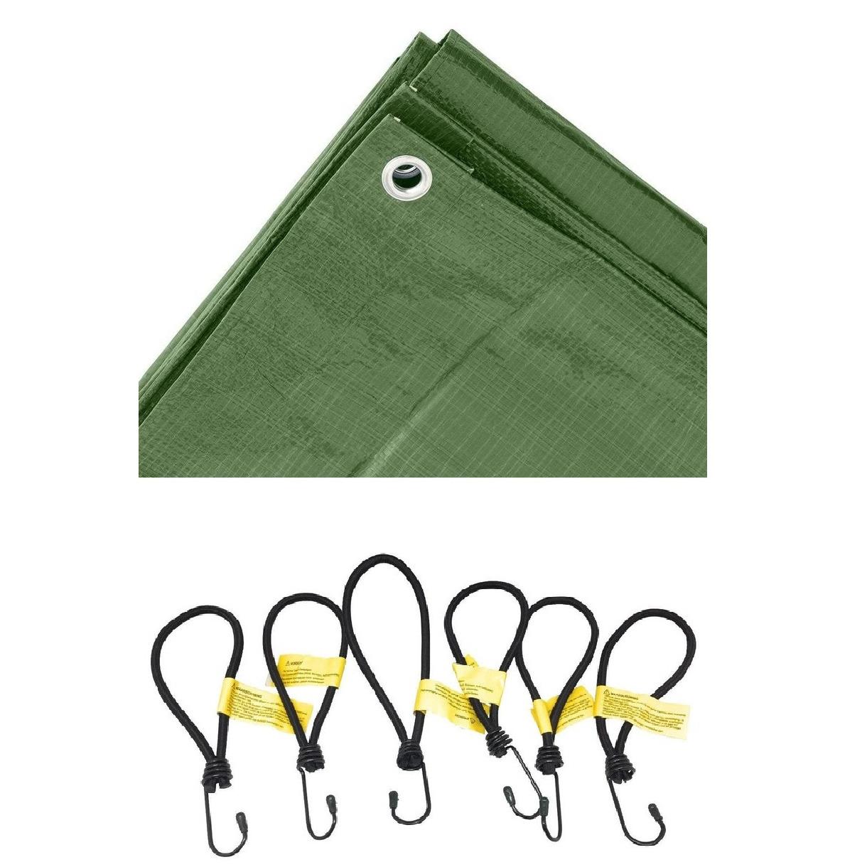 Groen afdekzeil dekzeil 4 x 5 meter met 24x spanners haakjes