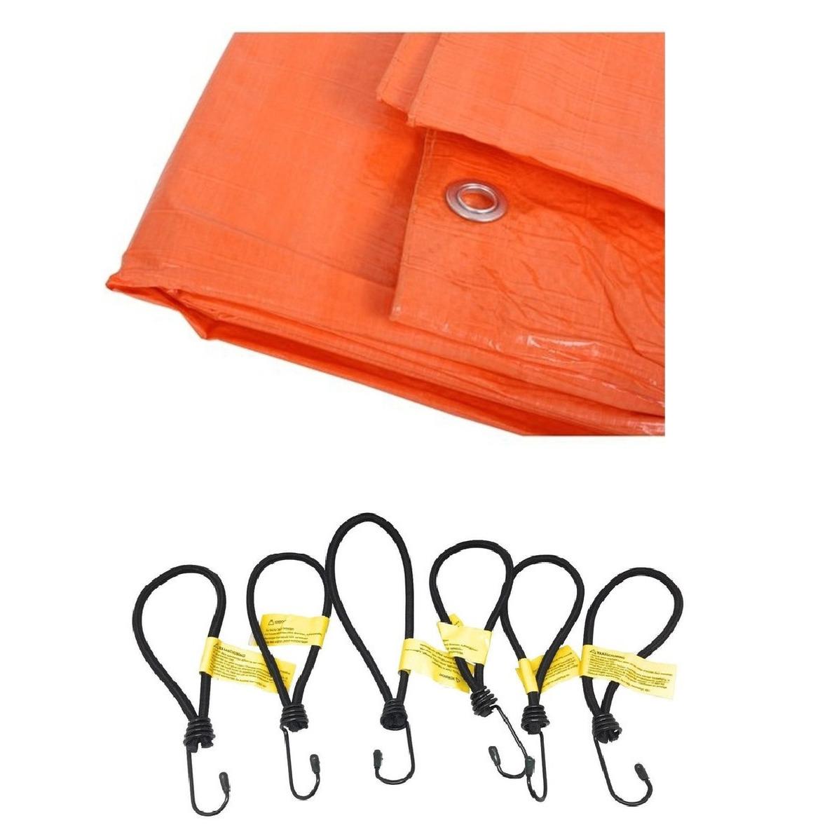 Oranje afdekzeil dekzeil 2 x 3 meter met 12x spanners haakjes