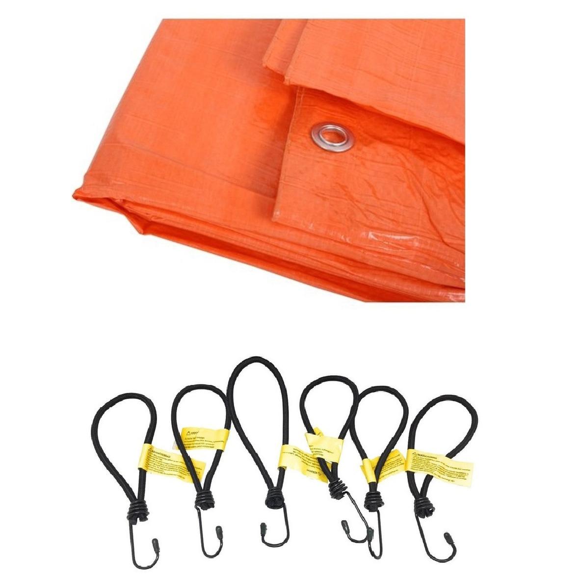Oranje afdekzeil dekzeil 4 x 6 meter met 24x spanners haakjes